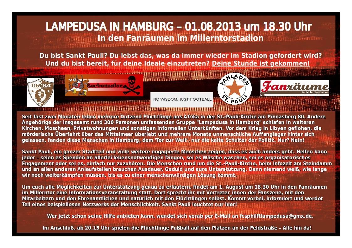 Lampedusa in Hamburg – Infoveranstaltung und Freundschaftsspiel