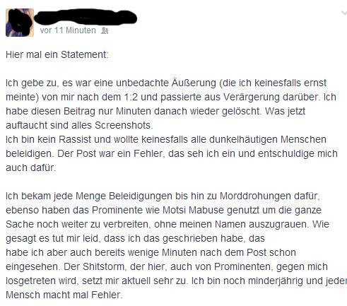 Entschuldigung bzw. Stellungnahme auf Facebook